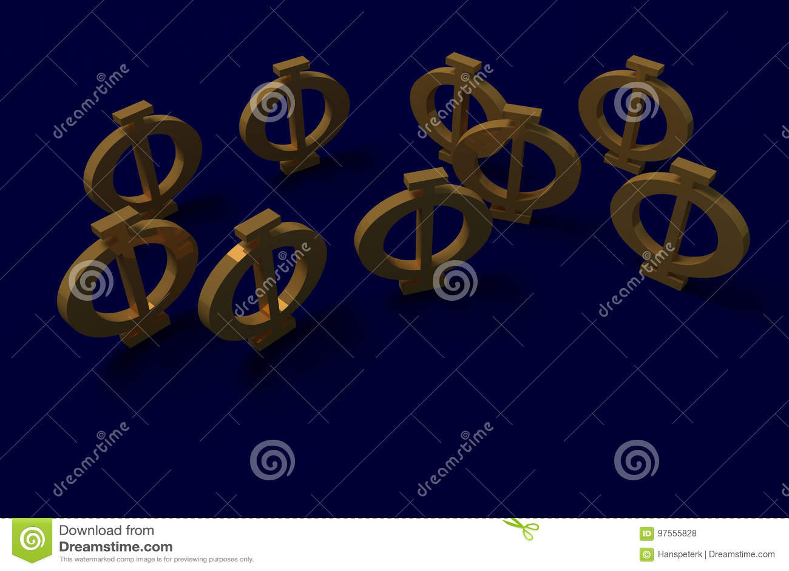 3d Rendering Of A Greek Capital Phi Letter Stock Illustration