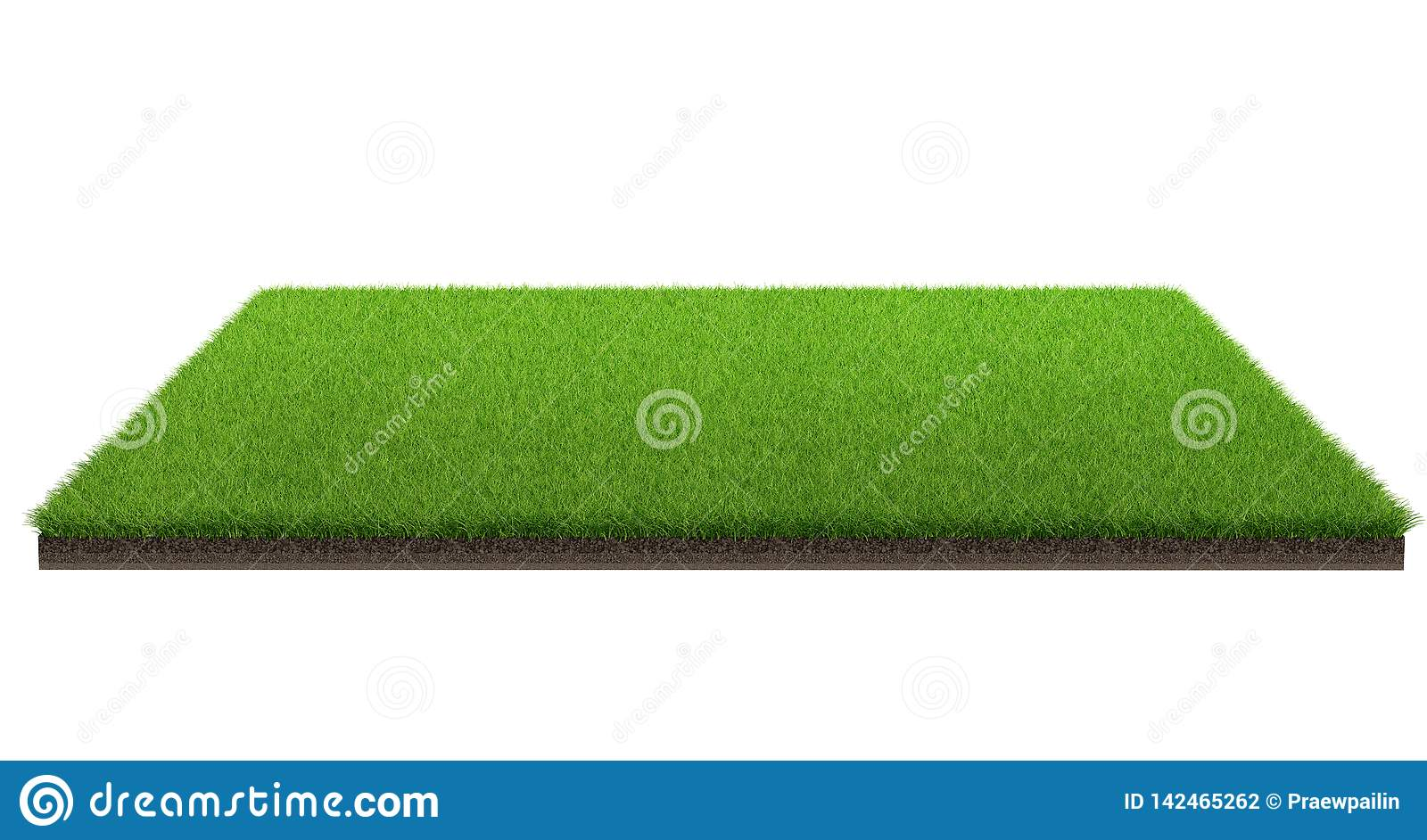 3d rendering of green grass field isolated on a white background with clipping path. Sports field