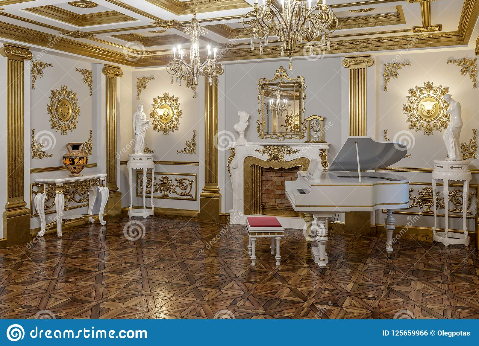 3d Rendering Of The Hall In Classical Style Cinema 4D Corona