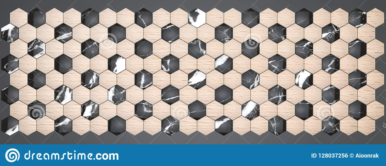 3d Rendering Of Hexagon Wall Panels Material Black Marble With Veneer Wood Beech For Your Project Or Interior Design Decorative Stock Illustration Illustration Of Design Beauty 128037256