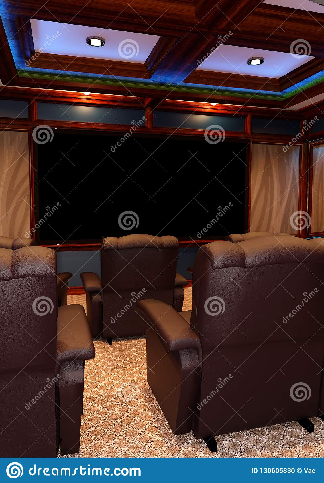 3D Rendering Home Theater stock photo  Image of room - 130605830