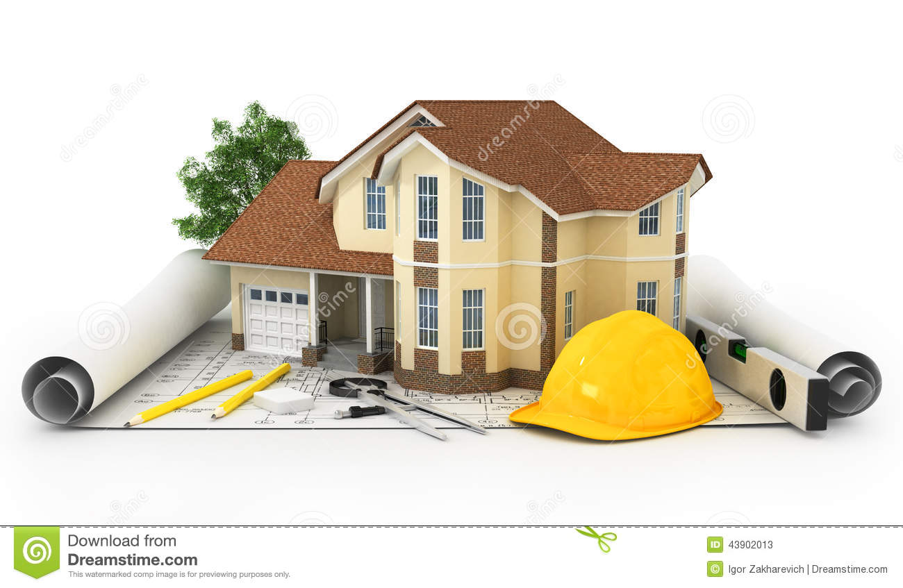 3d rendering of a house with garage on top of blueprints for Build house online 3d free