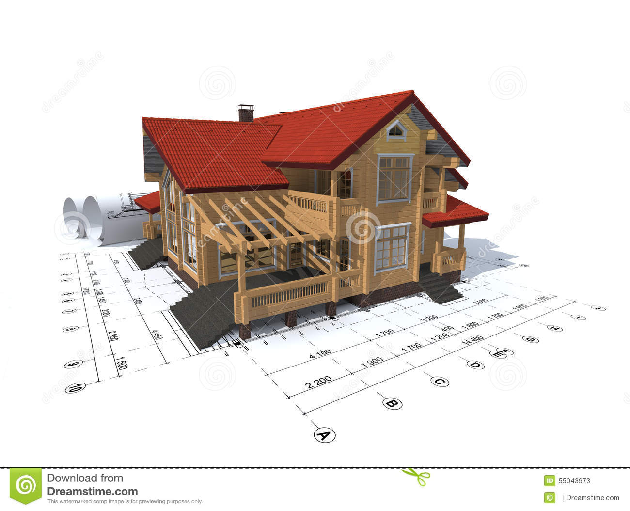 3d Rendering Of A House Project Stock Illustration Image 55043973