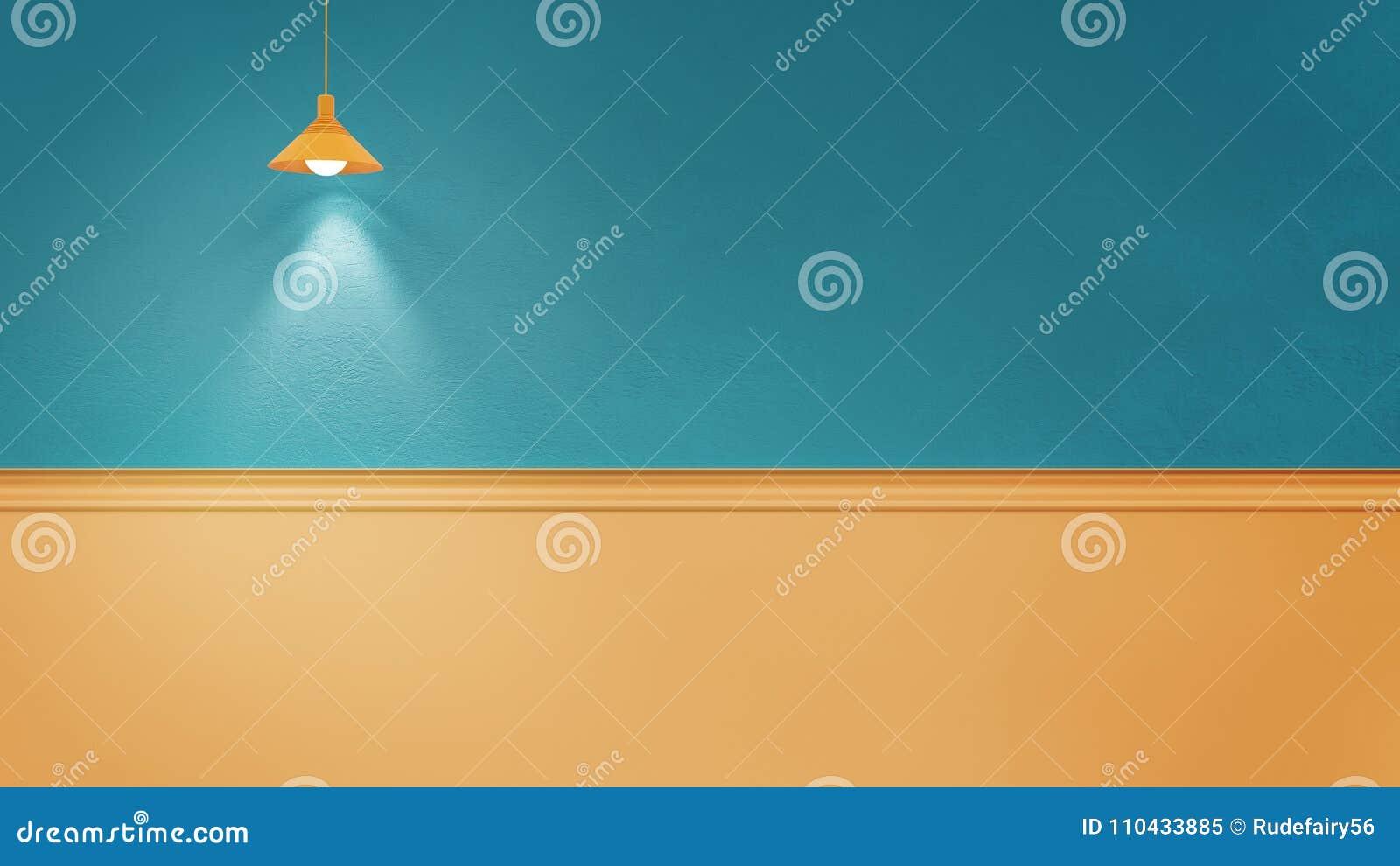 3d Rendering Illustration Of Blue Yellow Room Stock Illustration ...