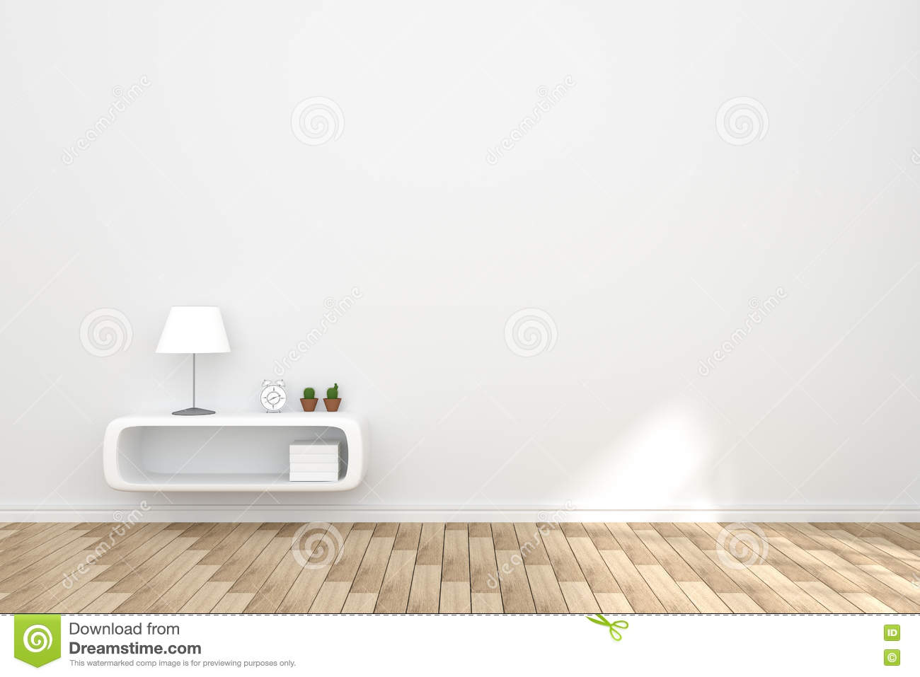 3D Rendering Illustration Of Cozy Living Room Interior With White Book Shelf Against Matt Wall And Wooden Floor