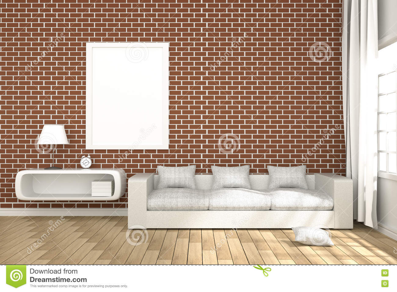 Download 3D Rendering : Illustration Of Cozy Living Room Interior With  White Book Shelf And