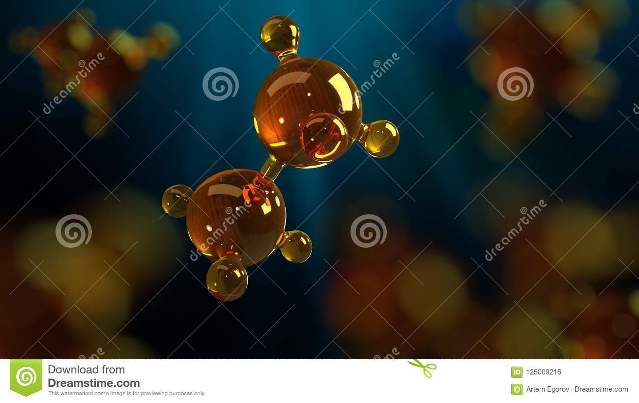 3d rendering illustration of glass molecule model. Molecule of oil. Concept of structure model motor oil or gas