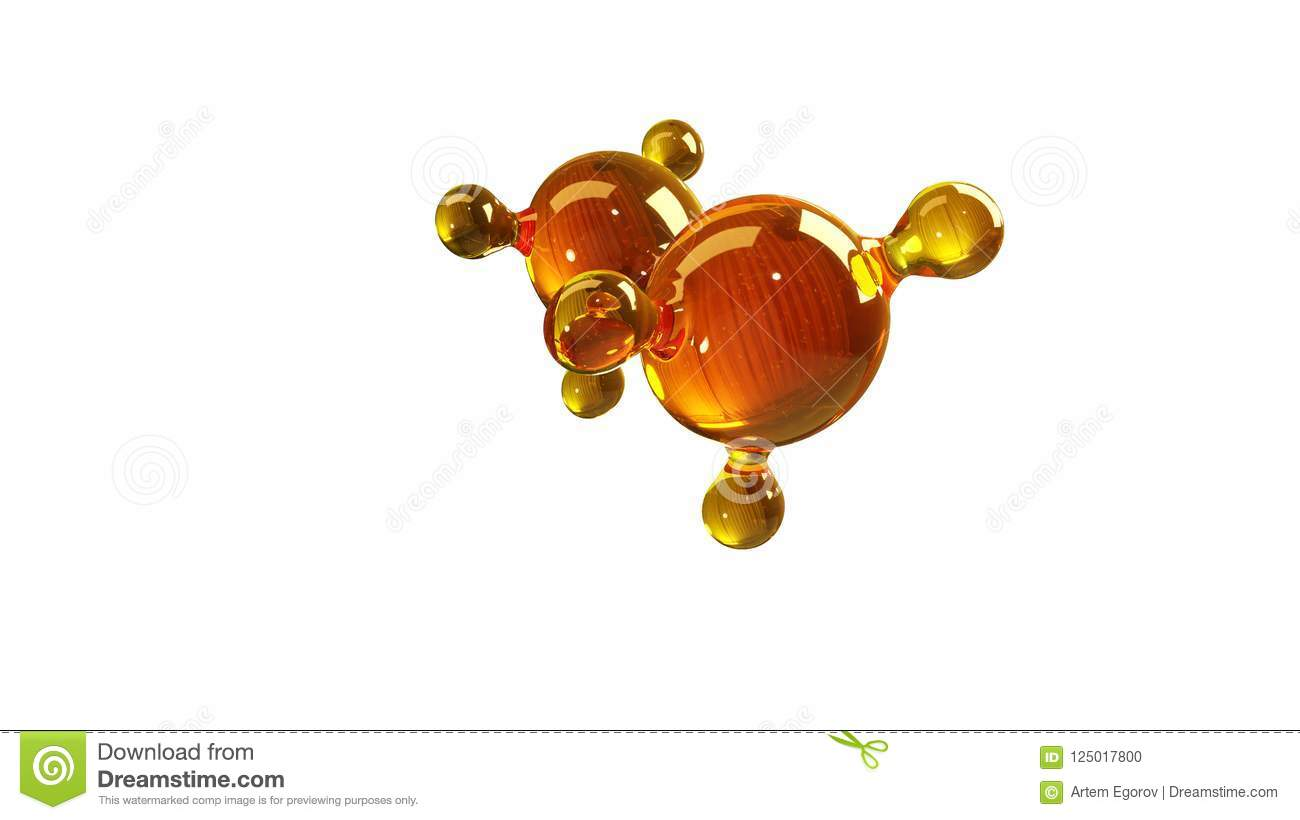 3d rendering illustration of glass molecule model. Molecule of oil. Concept of structure model motor oil or gas isolated on white