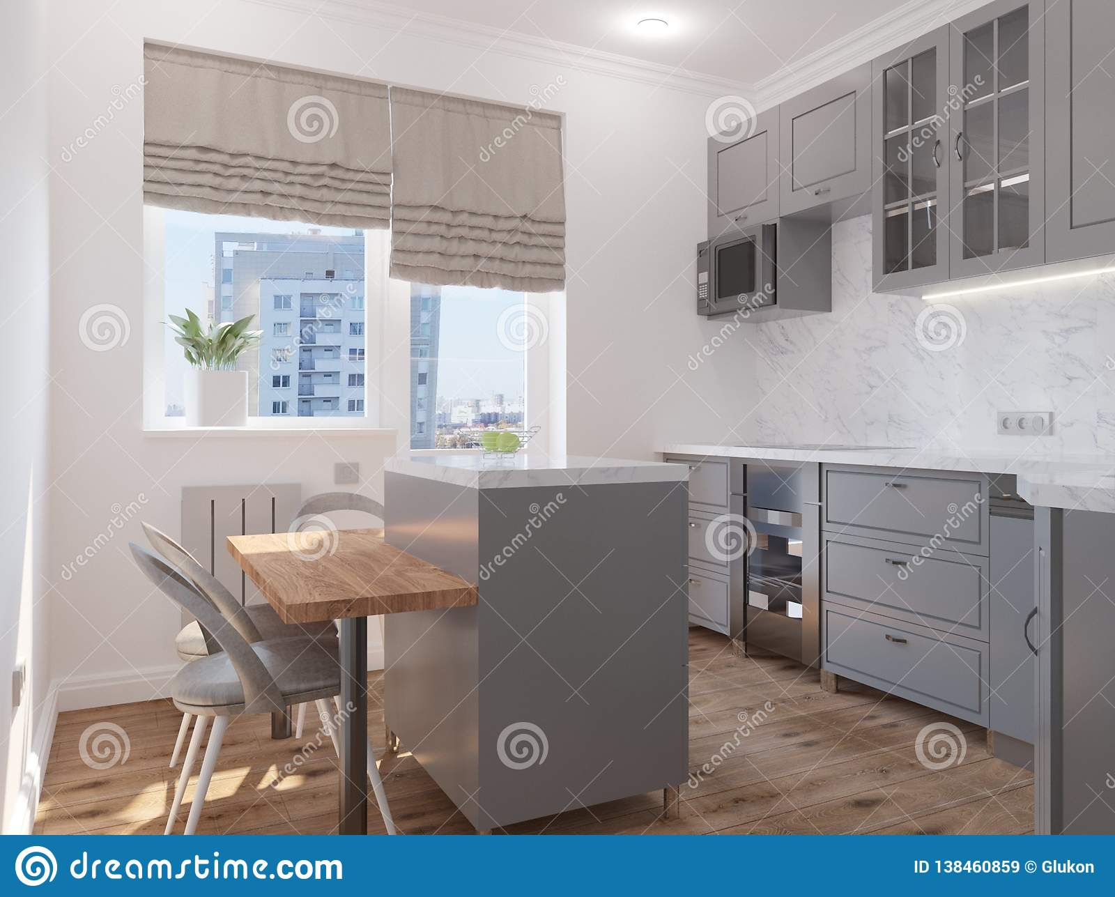 Modern Classic Kitchen With An Island Stock Illustration