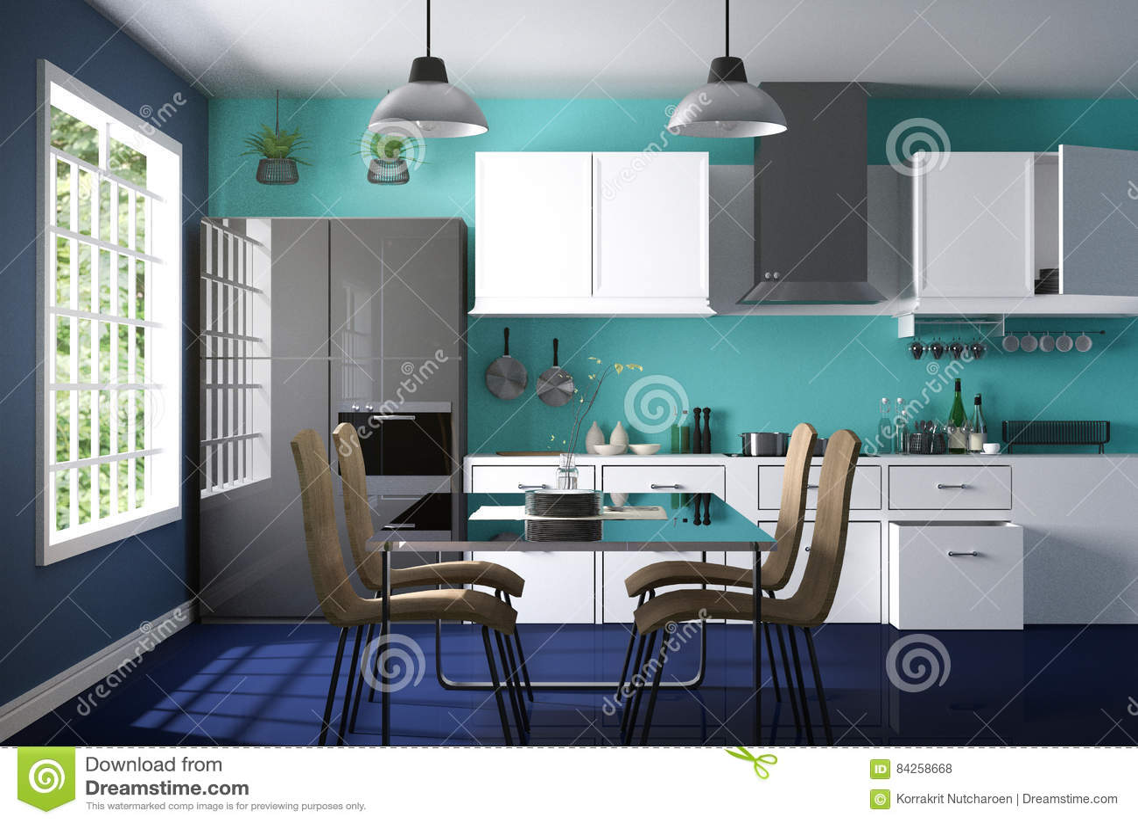 3D Rendering : Illustration Of Modern Color Interior Kitchen Room ...