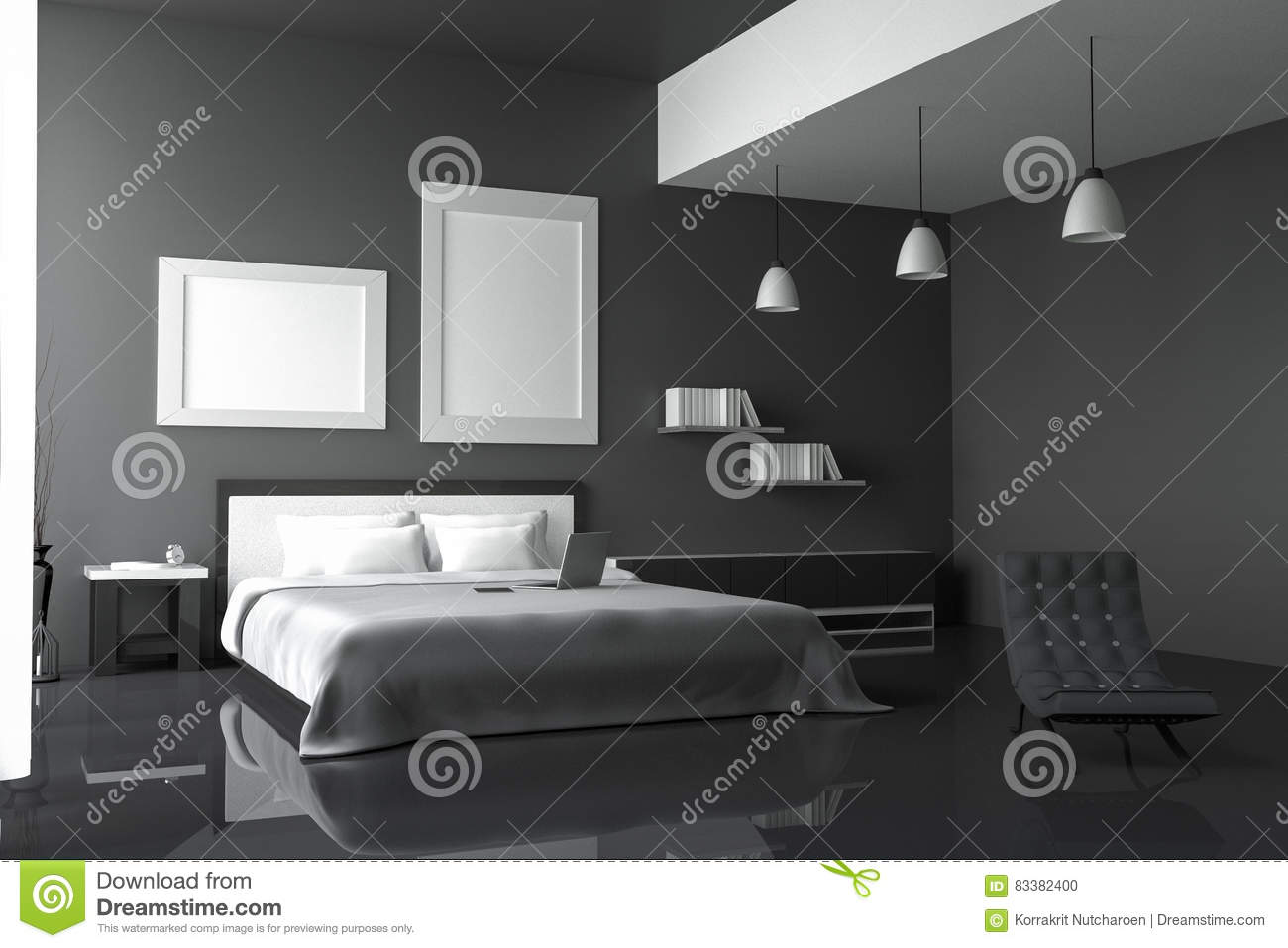 3d Rendering Illustration Of Modern House Interior Bed Room Part Of House Spacious Bedroom In Black And White Style Stock Illustration Illustration Of Luxury Hipster 83382400