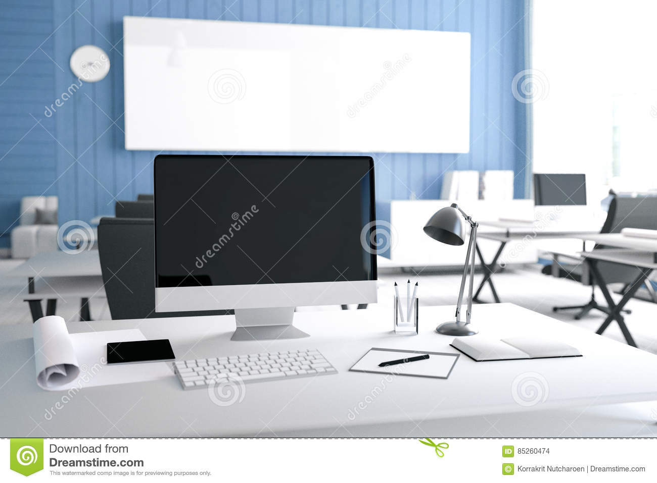 3D Rendering Illustration Of Modern Interior Creative Designer Office Desktop With PC Computerputer Labsworking Place Graphic Design Close Up
