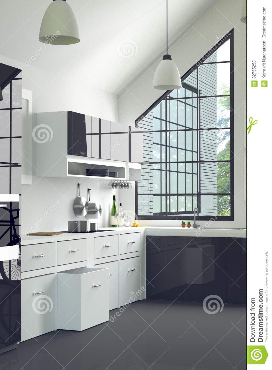 3D Rendering : illustration of modern interior kitchen room.kitchen part of house.black and white shelf.Mock up.shiny floor.