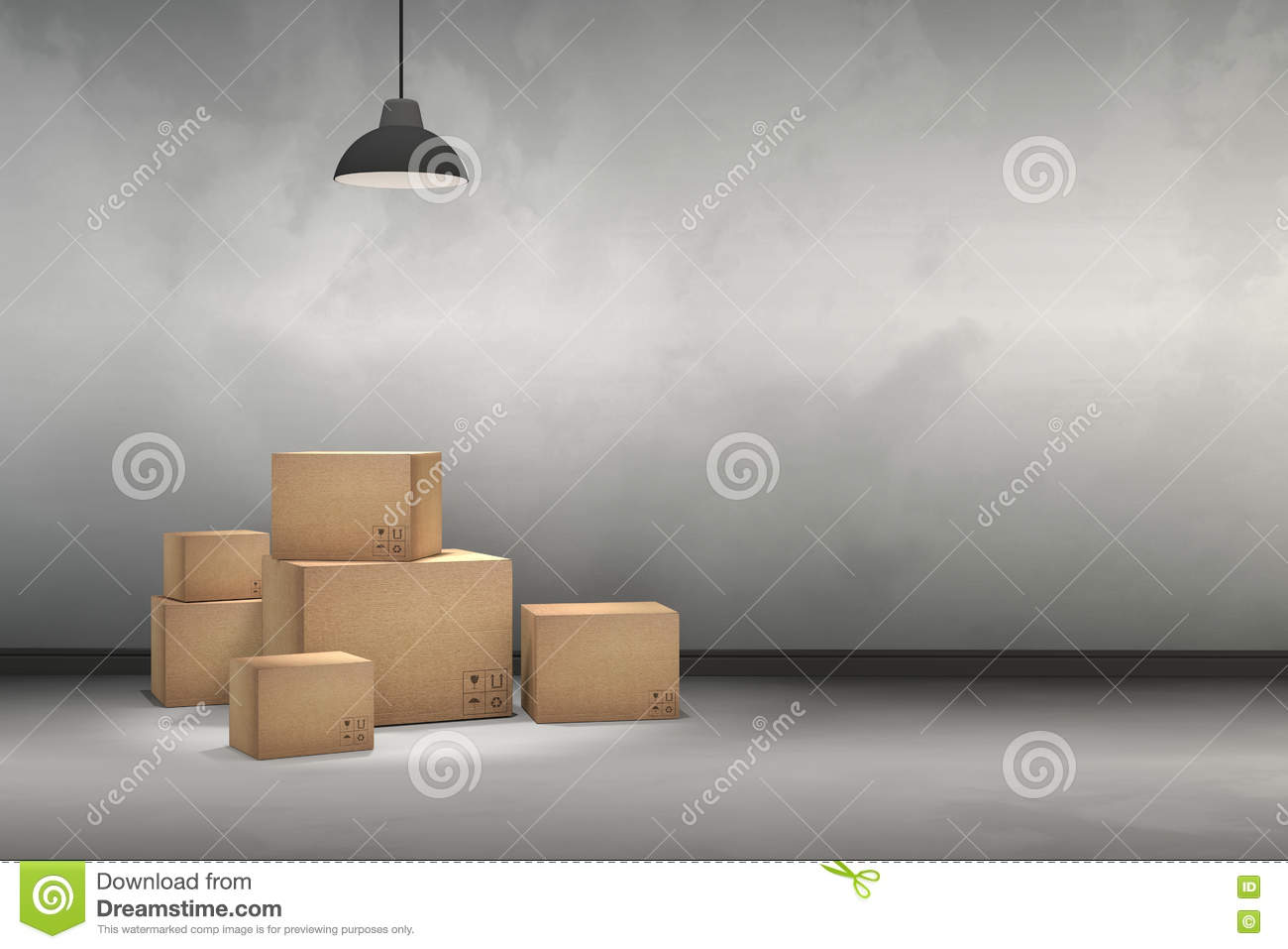 3d Rendering Illustration Of Moving Boxes At A New Office New Home