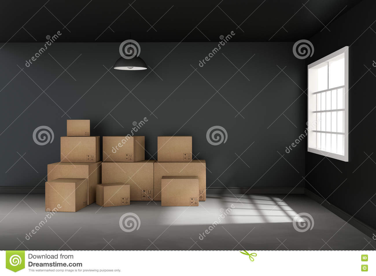 Room of cardboard boxes for moving house stock photo for Used boxes for moving house