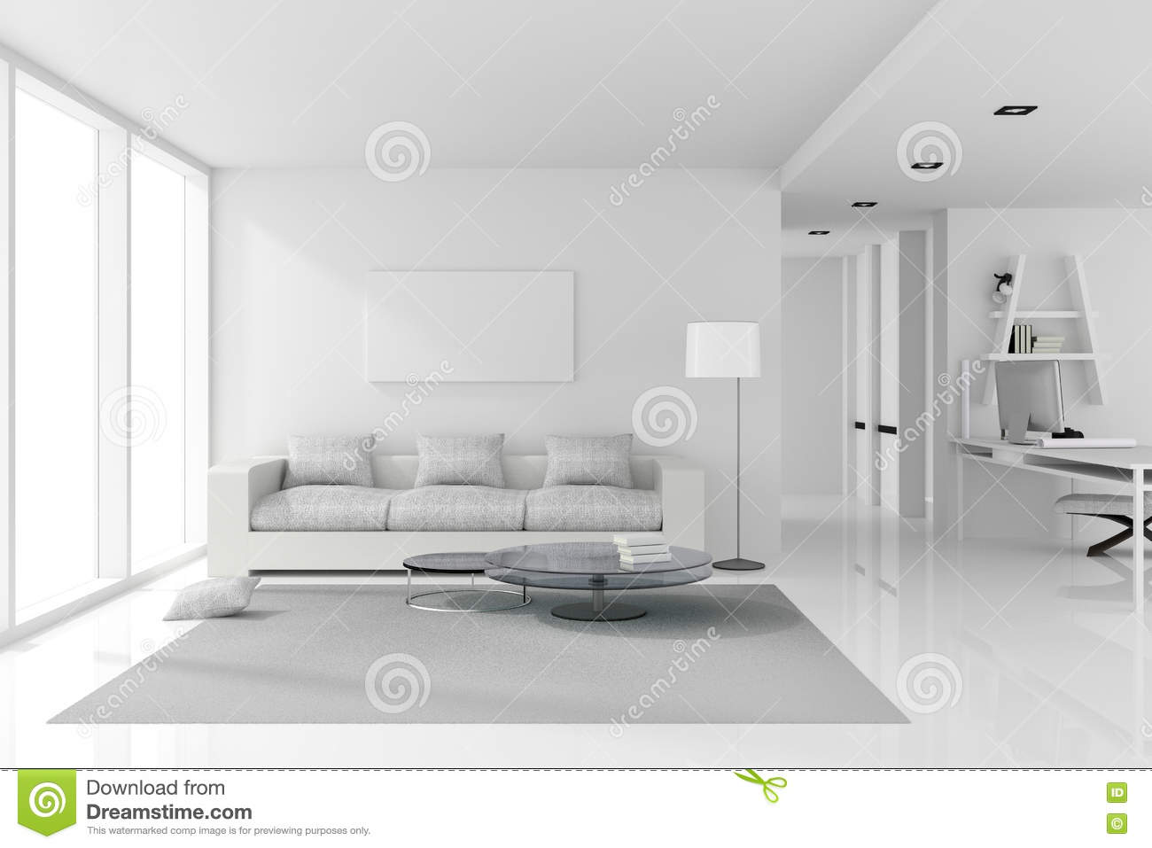 3D Rendering Illustration Of White Interior Design Living Room With Modern Style Furnitureshiny Floor