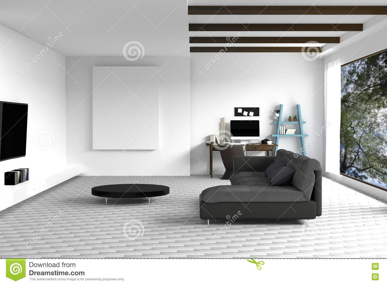 3D Rendering : Illustration Of White Living Room Interior Design With Dark  Sofa.blank Picture Frames.shelves And White Walls.