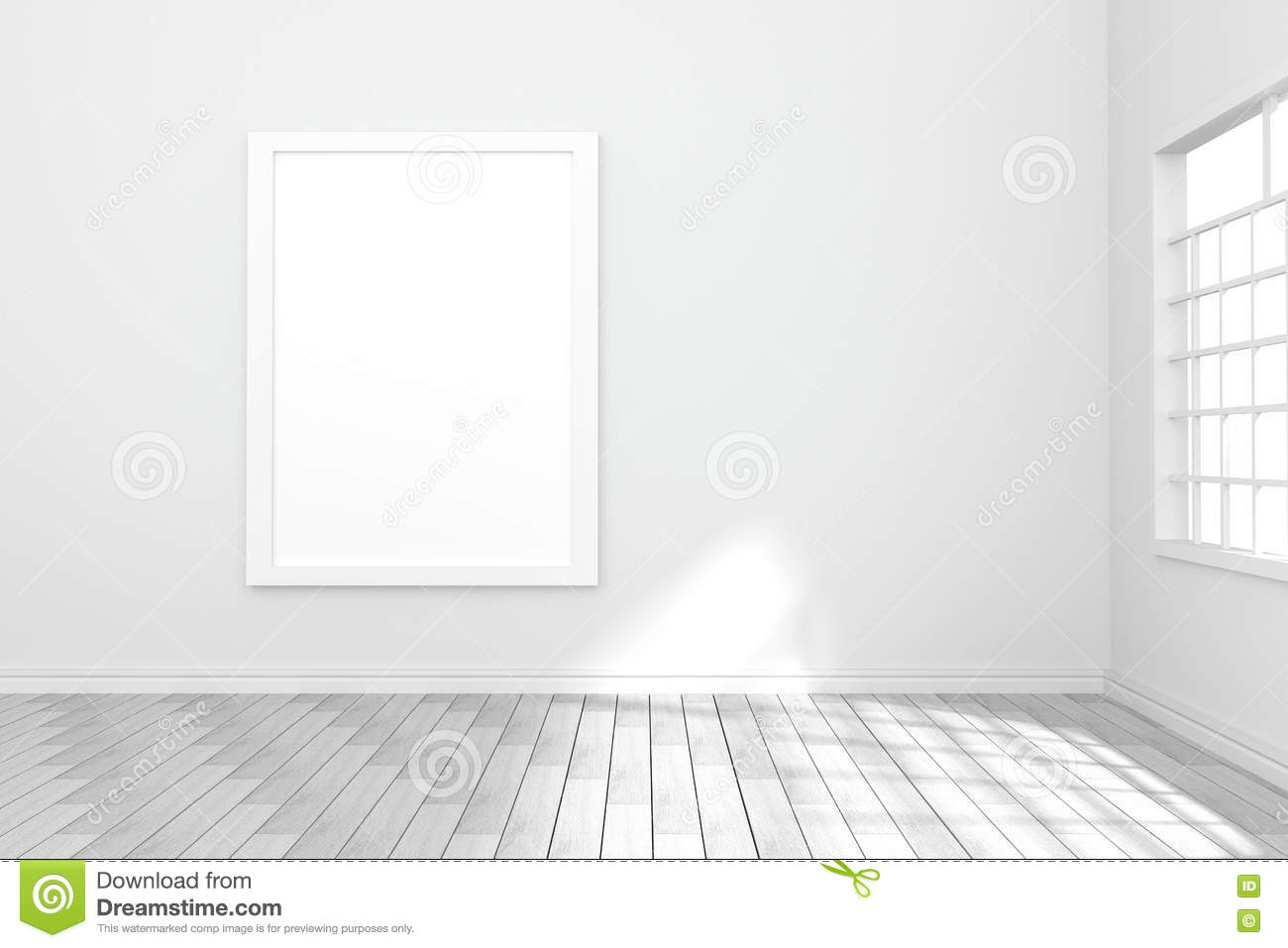 3d Rendering Illustration Of White Poster Hanging On The Wall In