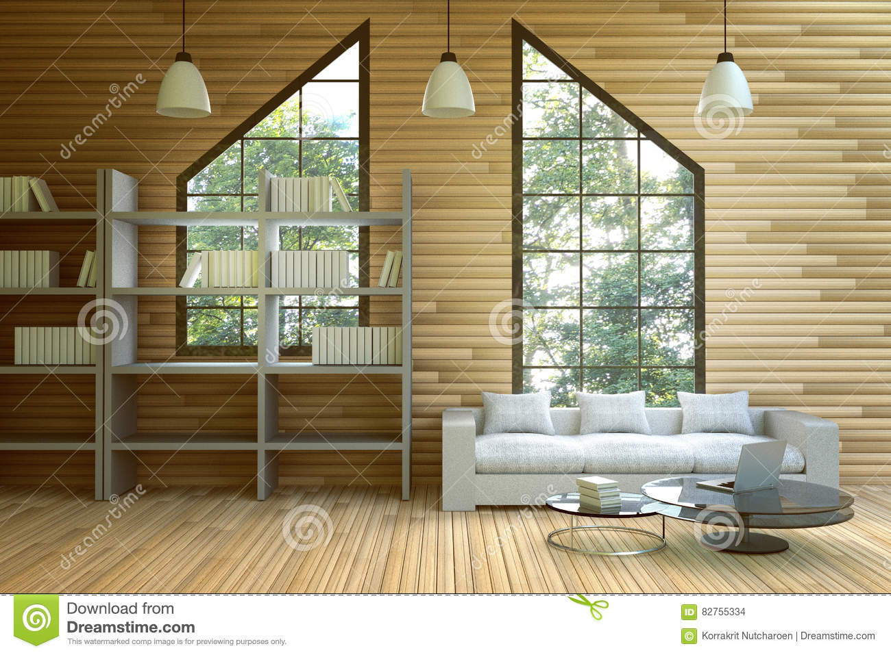 3d Rendering Illustration Of Wooden House Interior