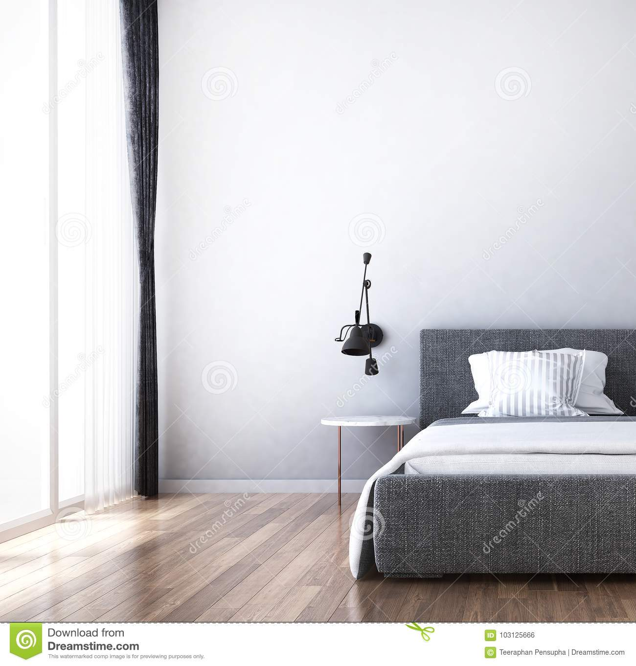 The Interiors Design Idea Of Bedroom And Wood Tile Wall Texture Stock Illustration Illustration Of Lamp House 103125666