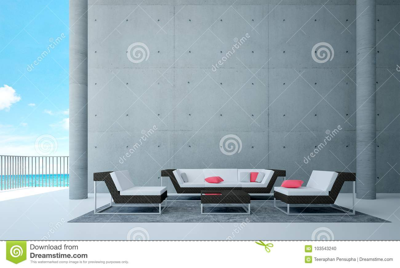 The Interiors Design Of Living Room And Concrete Wall Background And ...