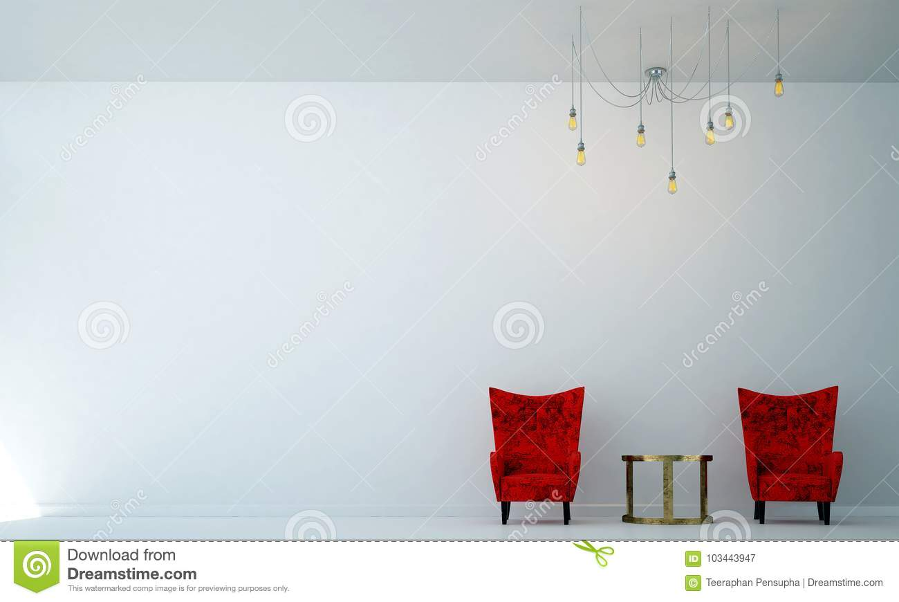 The Interiors Design Idea Of Red Sofa Lounge And Living Room And ...