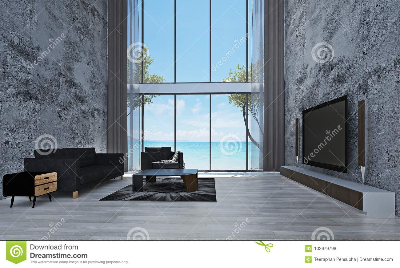 The Modern Living Room Interior Design And Concrete Wall Texture ...