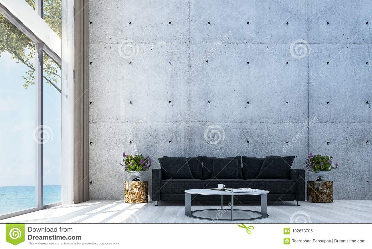 The Modern Lounge Hall And Sofa Living Room Interior Design And Red ...