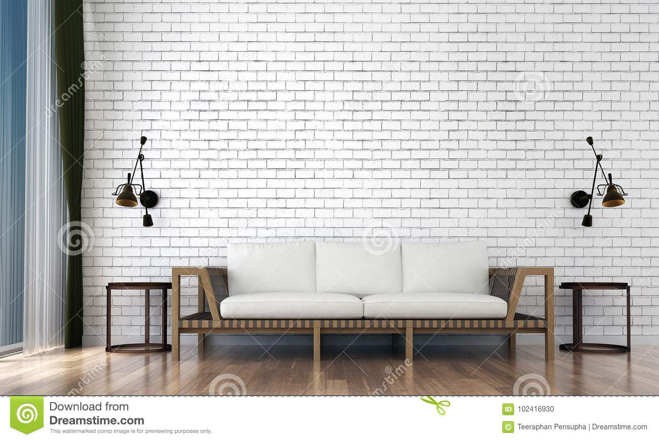 The Minimal Living Room Interior Design And White Brick Wall Pattern Background Stock Illustration Illustration Of Bedroom Mono 102416930