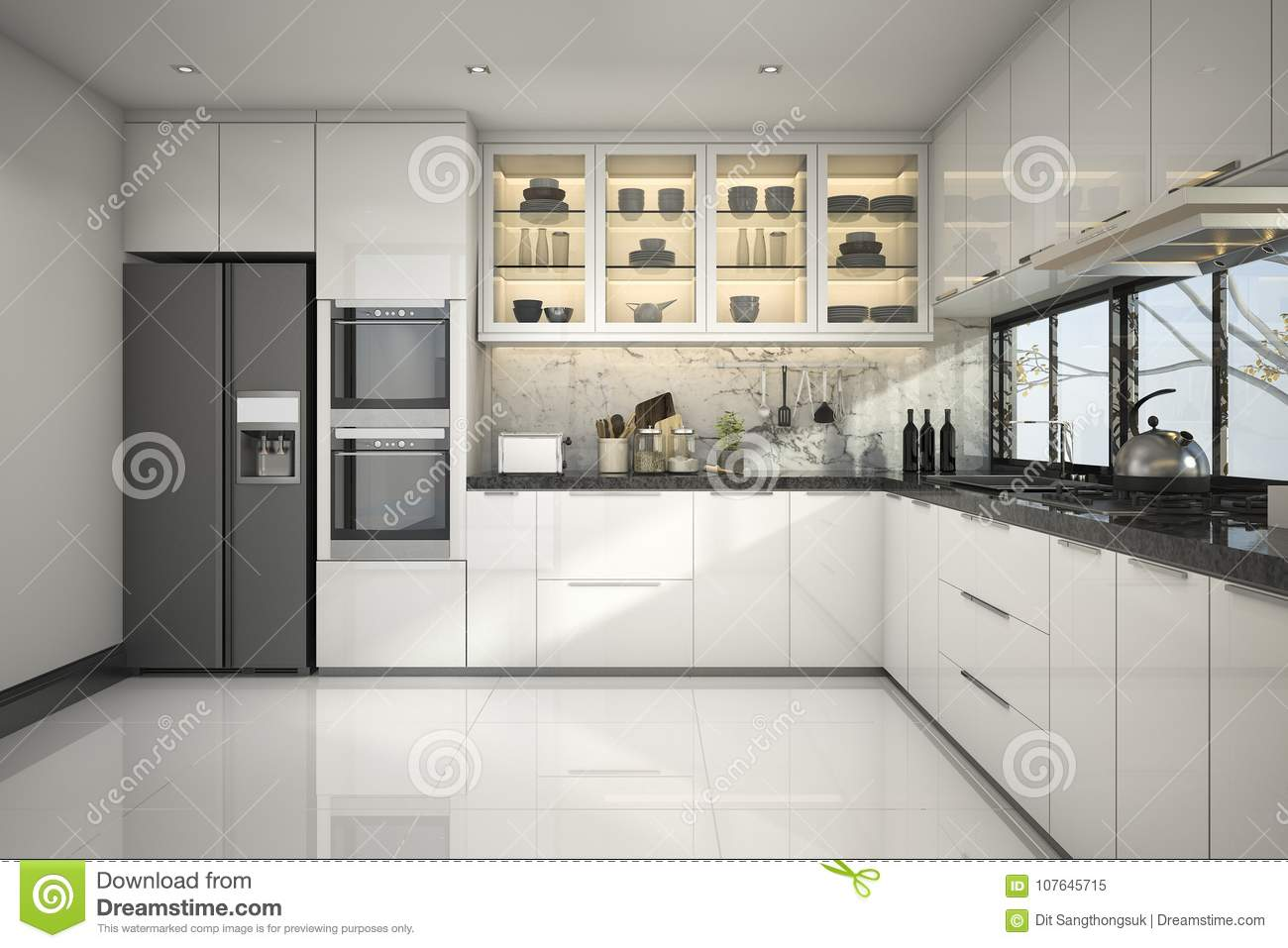 Traditional White Kitchen Design 3d Rendering: 3d Rendering Beautiful Modern White Kitchen With Marble