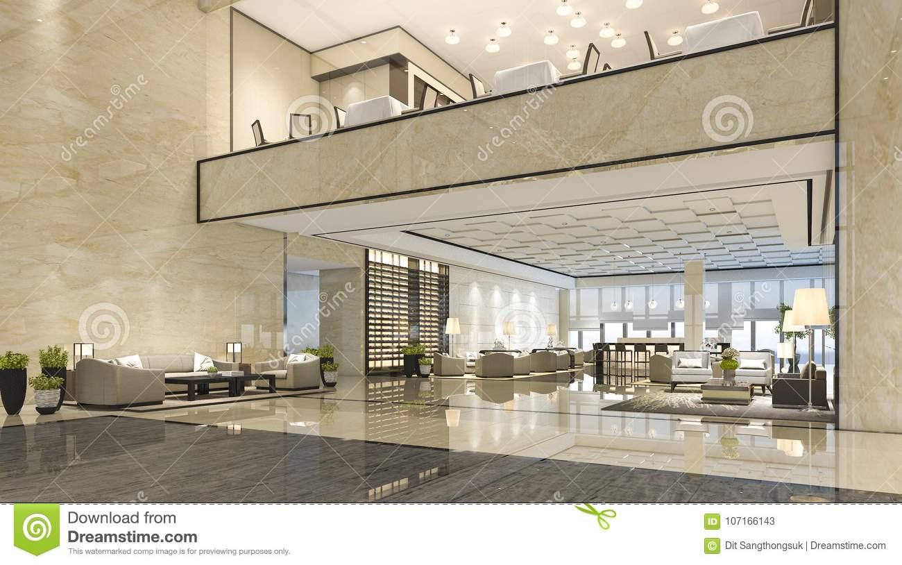 3d Rendering Luxury Hotel Reception Hall And Lounge ...
