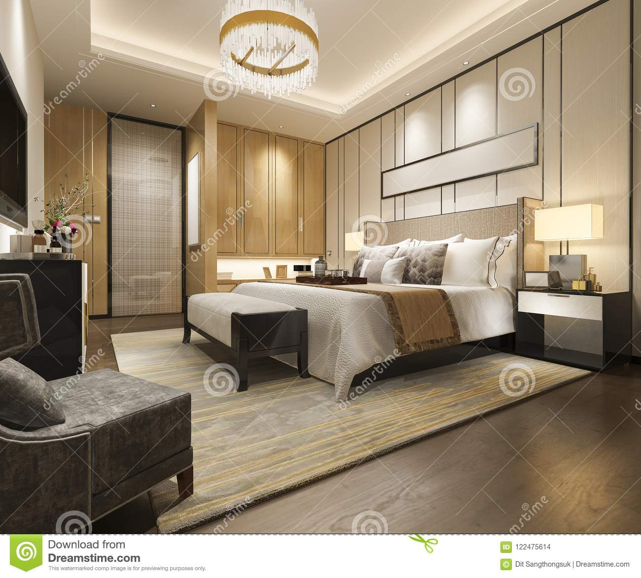 3d rendering luxury modern bedroom suite in hotel with - Hotel interior and exterior design ...