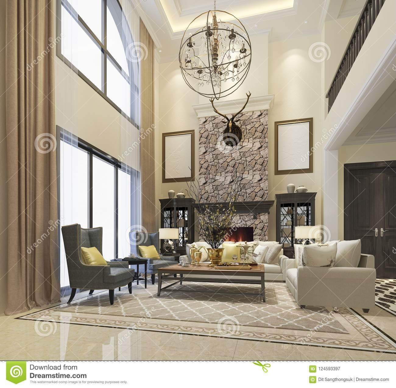 New Home Designs Latest Luxury Living Rooms Interior: 3d Rendering Luxury And Modern Classic Living Room With
