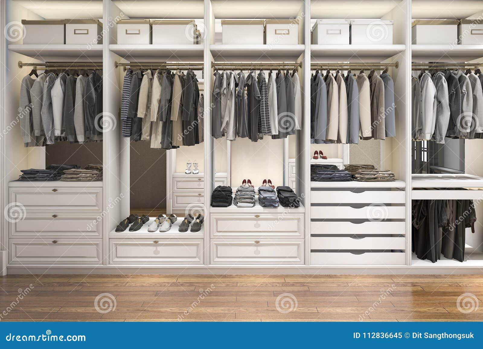 3d Rendering Modern Scandinavian White Wood Walk In Closet