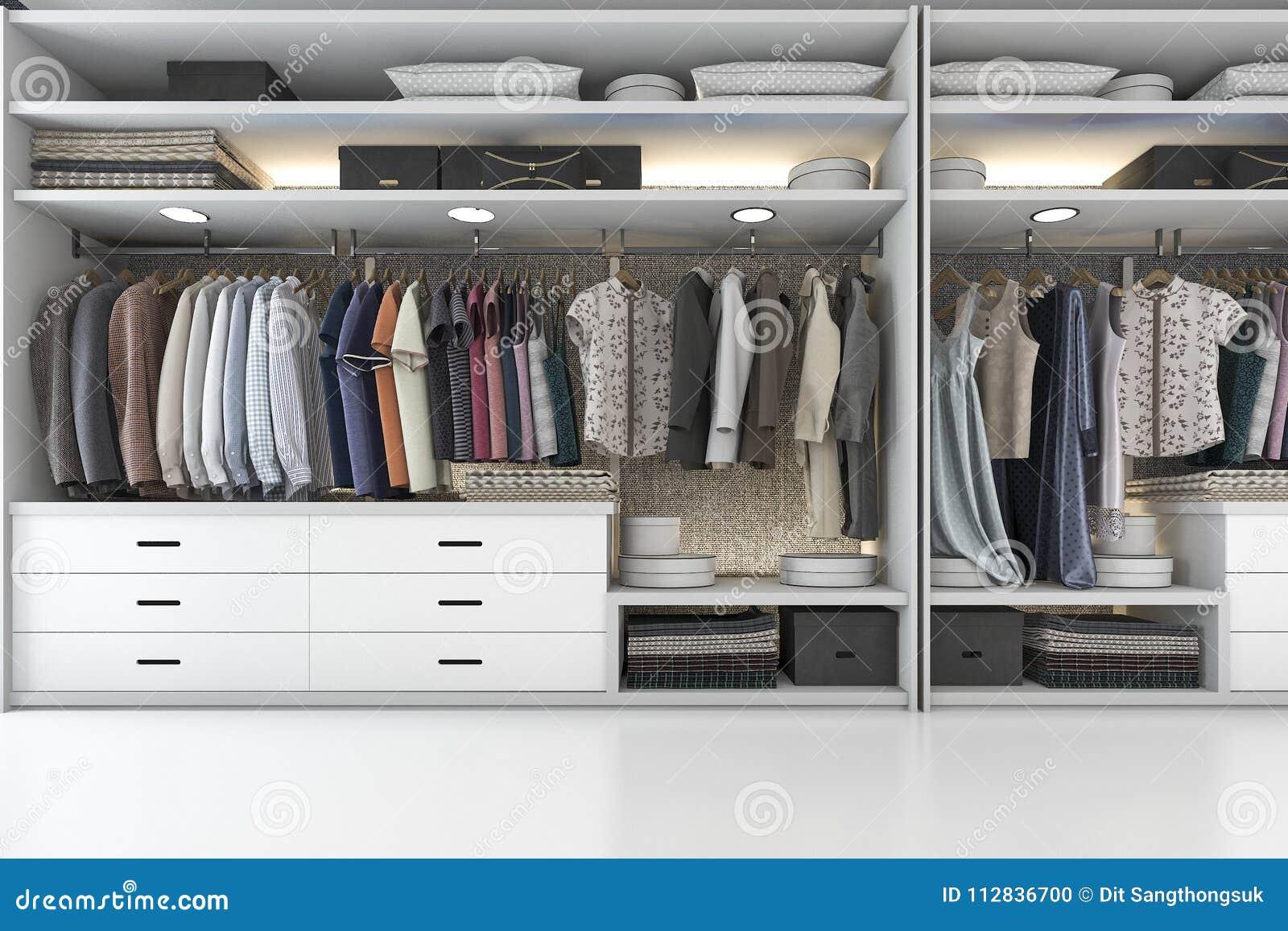 Download 3d Rendering Modern Scandinavian White Wood Walk In Closet With  Wardrobe Stock Illustration   Illustration