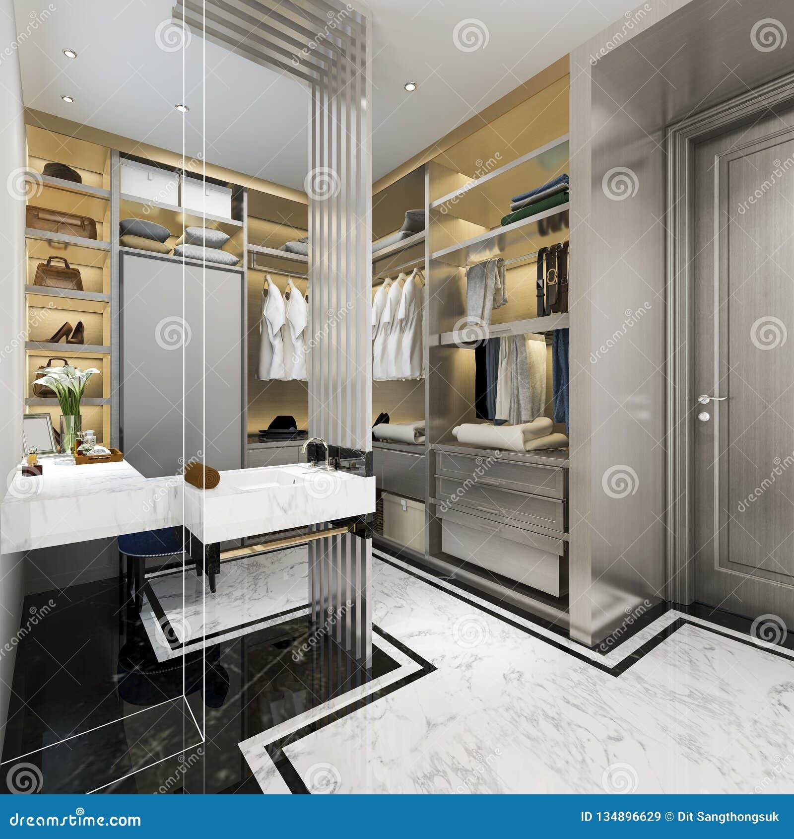 Window Wardrobe: 3d Rendering Modern Scandinavian White Wood Walk In Closet