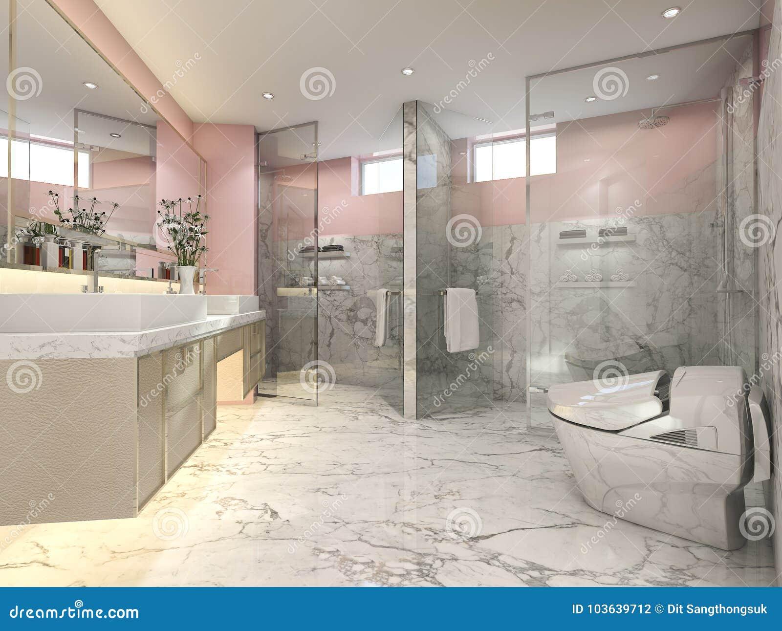 3d Rendering Pink Modern Vintage Bathroom With Luxury Tile Decor Stock Illustration Illustration Of Bright Glass 103639712