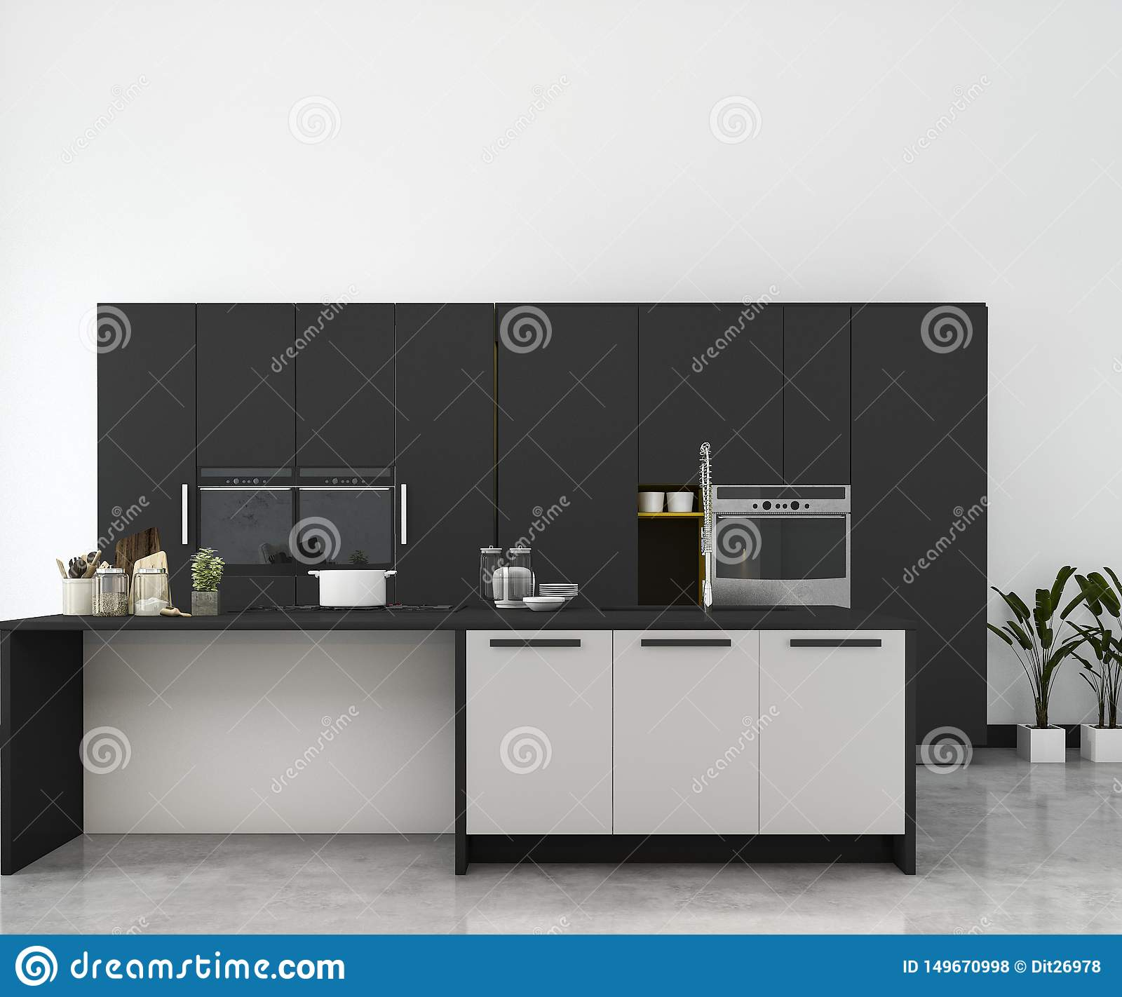 3d Rendering White Minimal Mock Up Kitchen With Wood Decoration Stock Illustration Illustration Of Design Chair 149670998