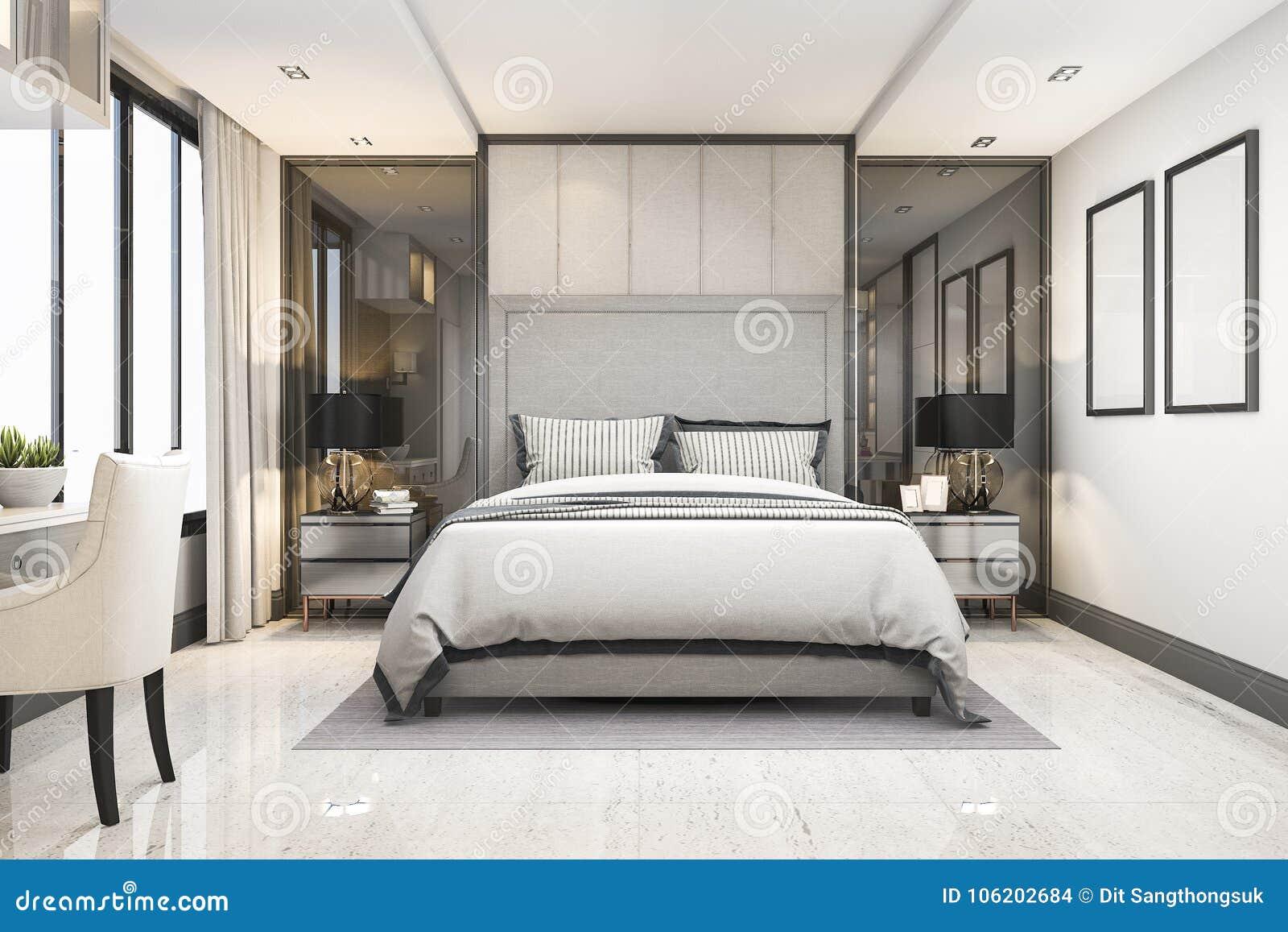 3d Rendering White Modern Luxury Bedroom Suite In Hotel With ...