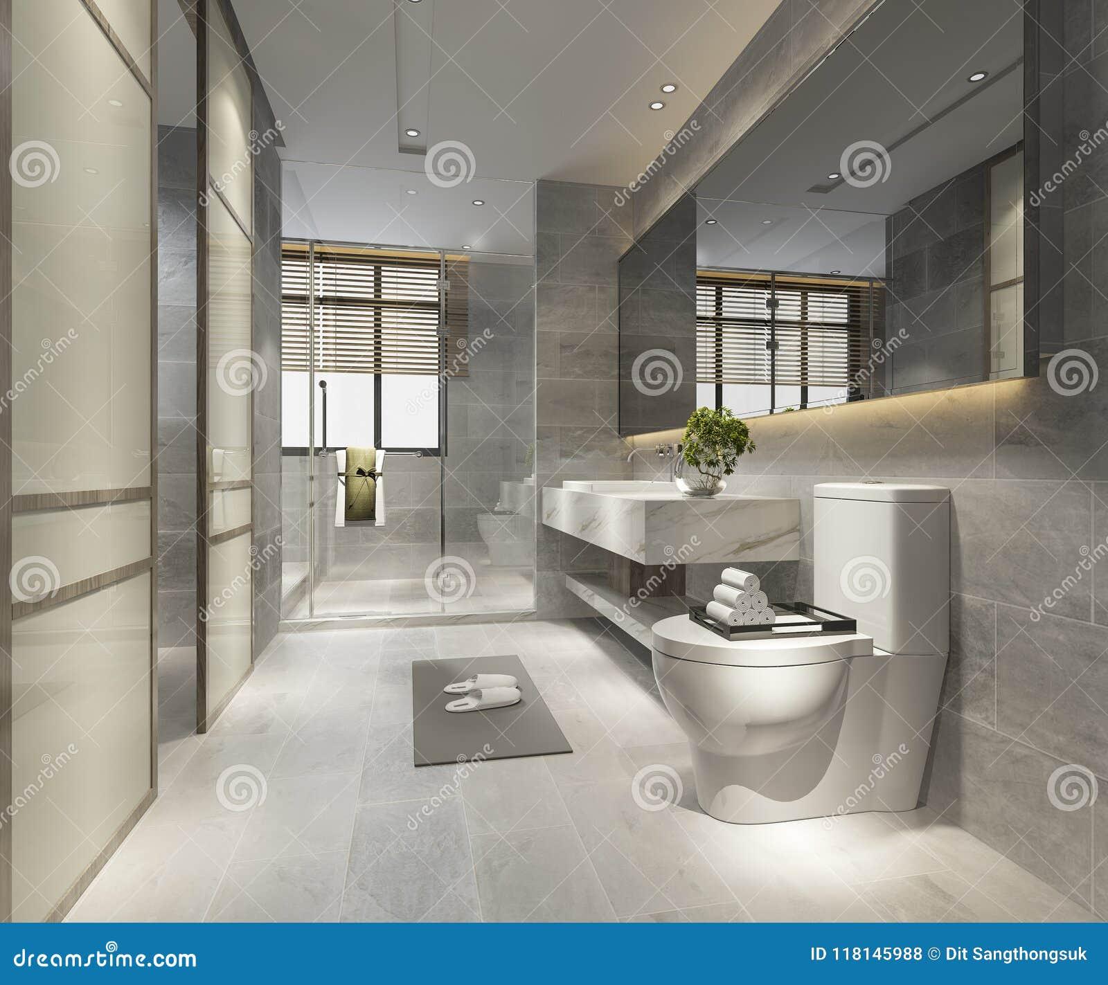 luxuryous modern bathroom design naturally image   3d Rendering Luxury Modern Design Bathroom And Toilet ...