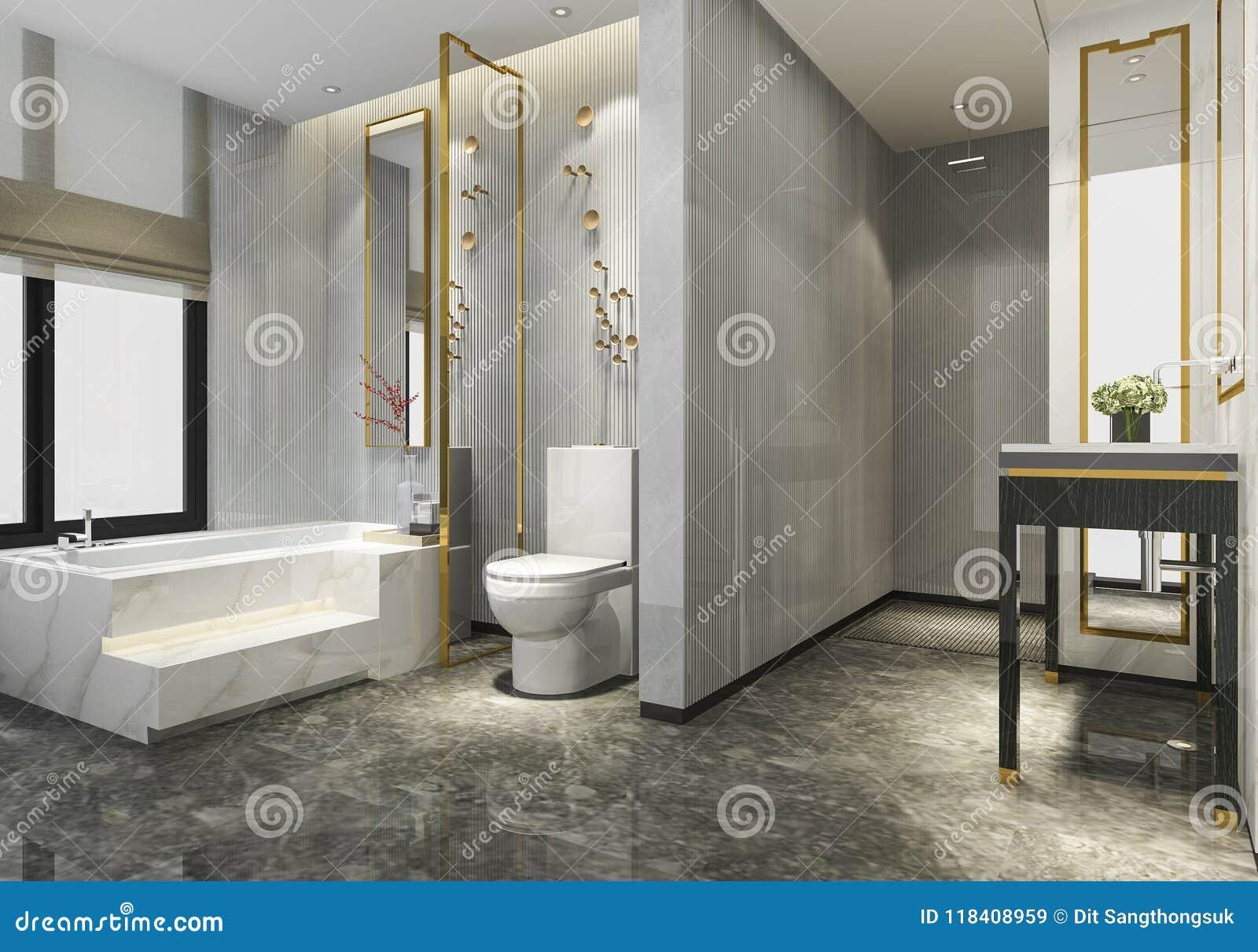 3d Rendering Luxury Modern Design Bathroom And Toilet Stock