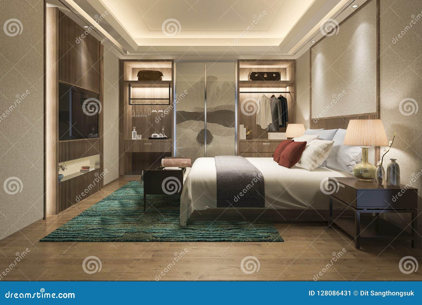 . 3d Rendering Luxury Modern Bedroom Suite Tv With Wardrobe And Walk