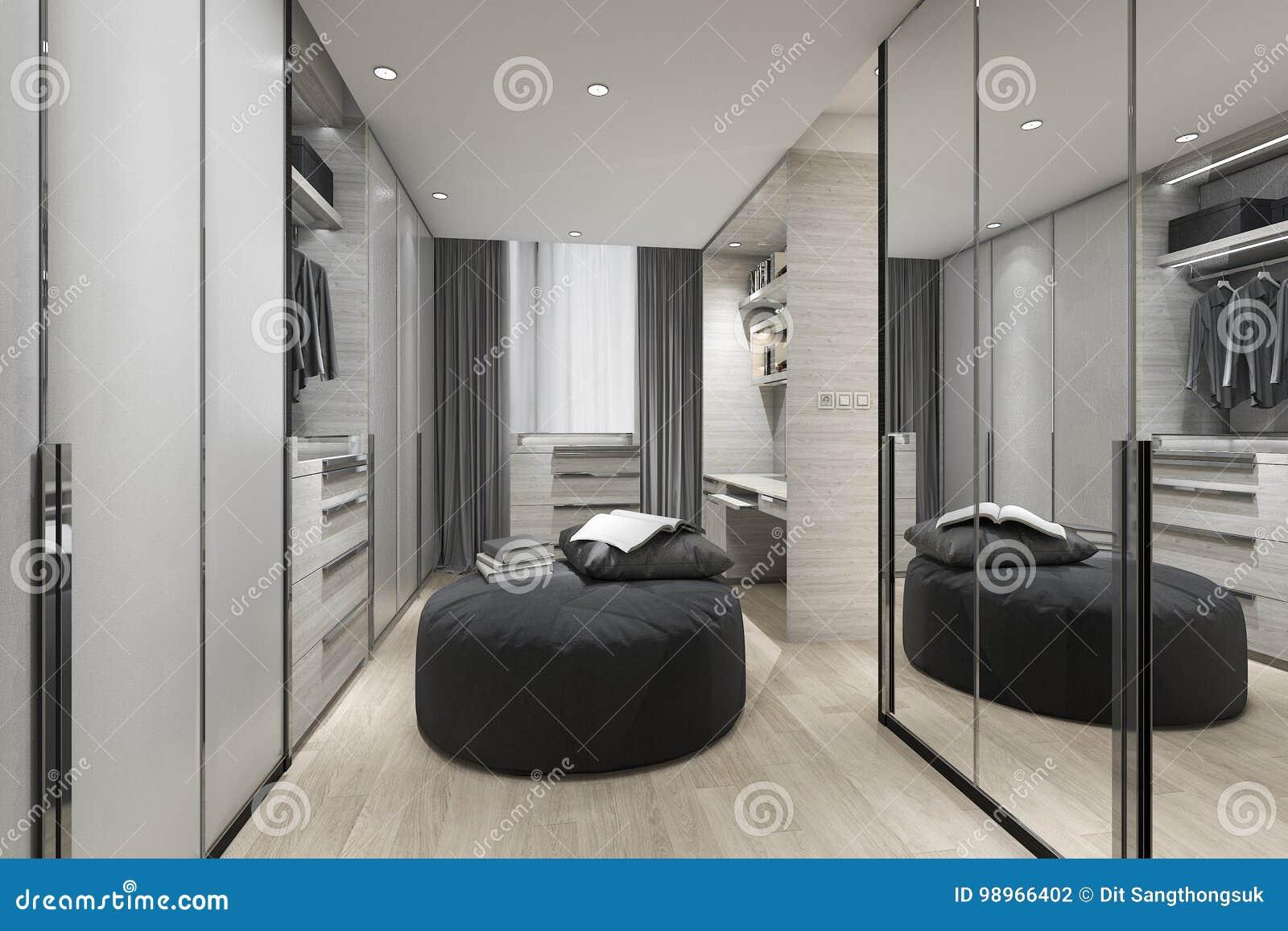 3d Rendering Black Cushion In Scandinavian Walk In Closet With