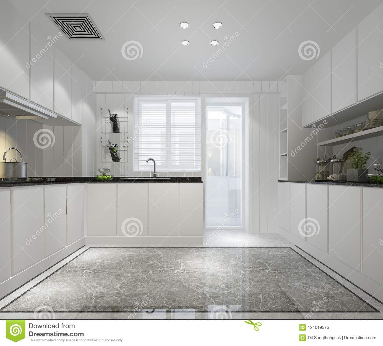 Traditional White Kitchen Design 3d Rendering: 3d Rendering White Minimal Kitchen With Modern Decor Style