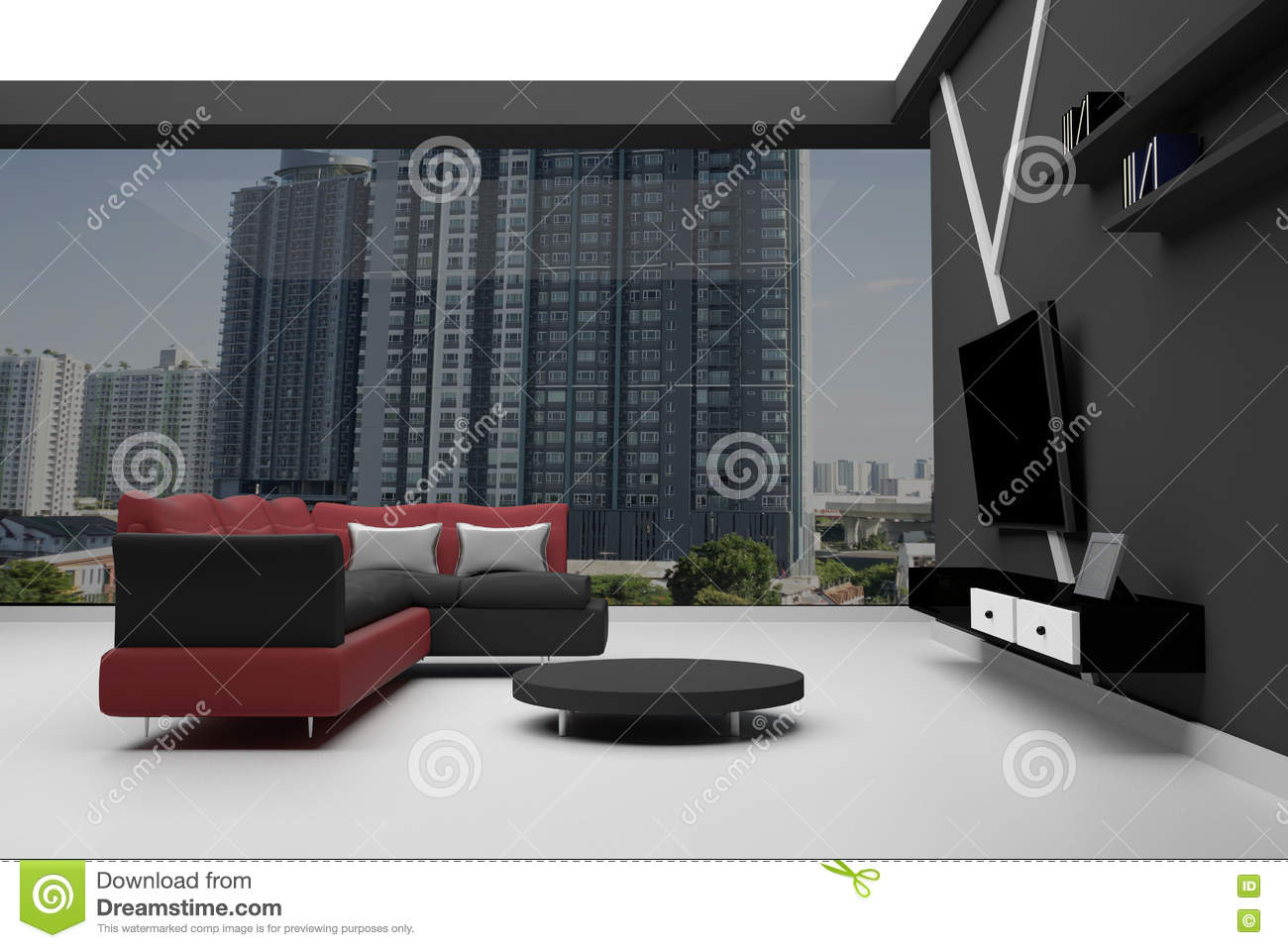 Pleasant 3D Rendering Interior Of High Rise Condo Red And Black Creativecarmelina Interior Chair Design Creativecarmelinacom