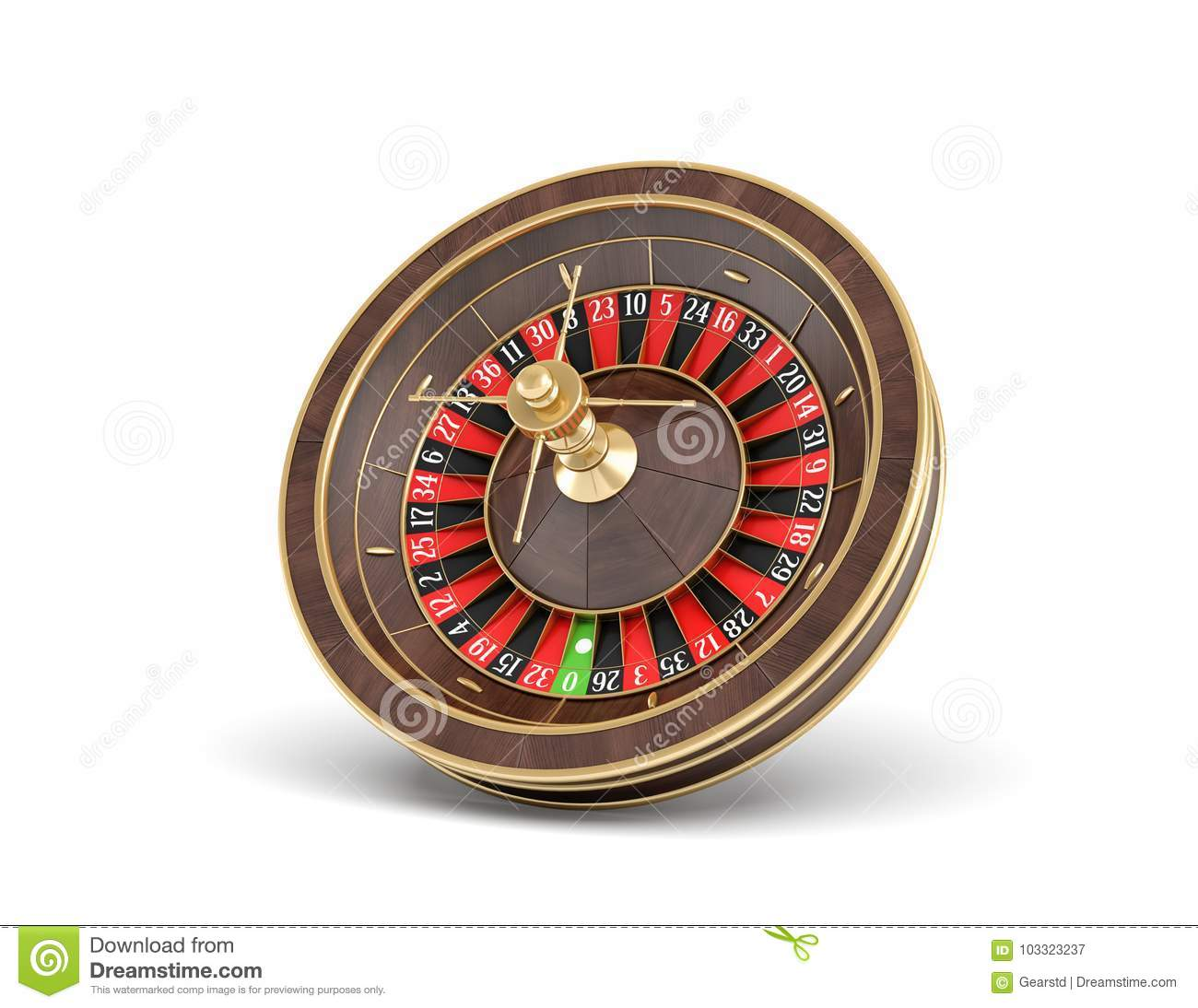 3d rendering of an isolated wooden casino roulette with golden decorations on white background.