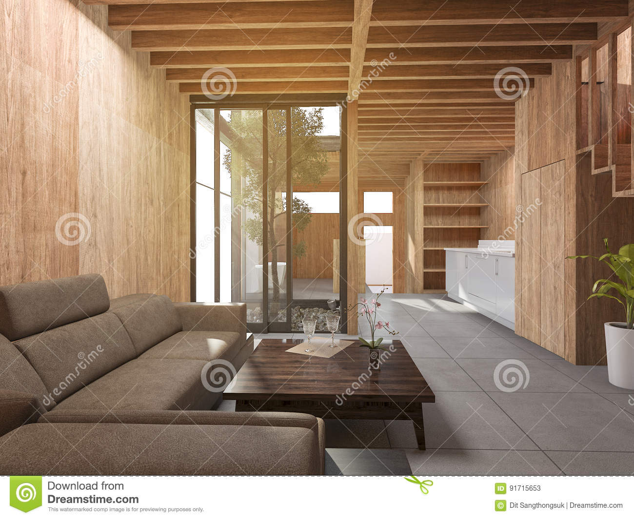 3d Rendering Japanese Living Room Style House With Wood Decor Stock ...