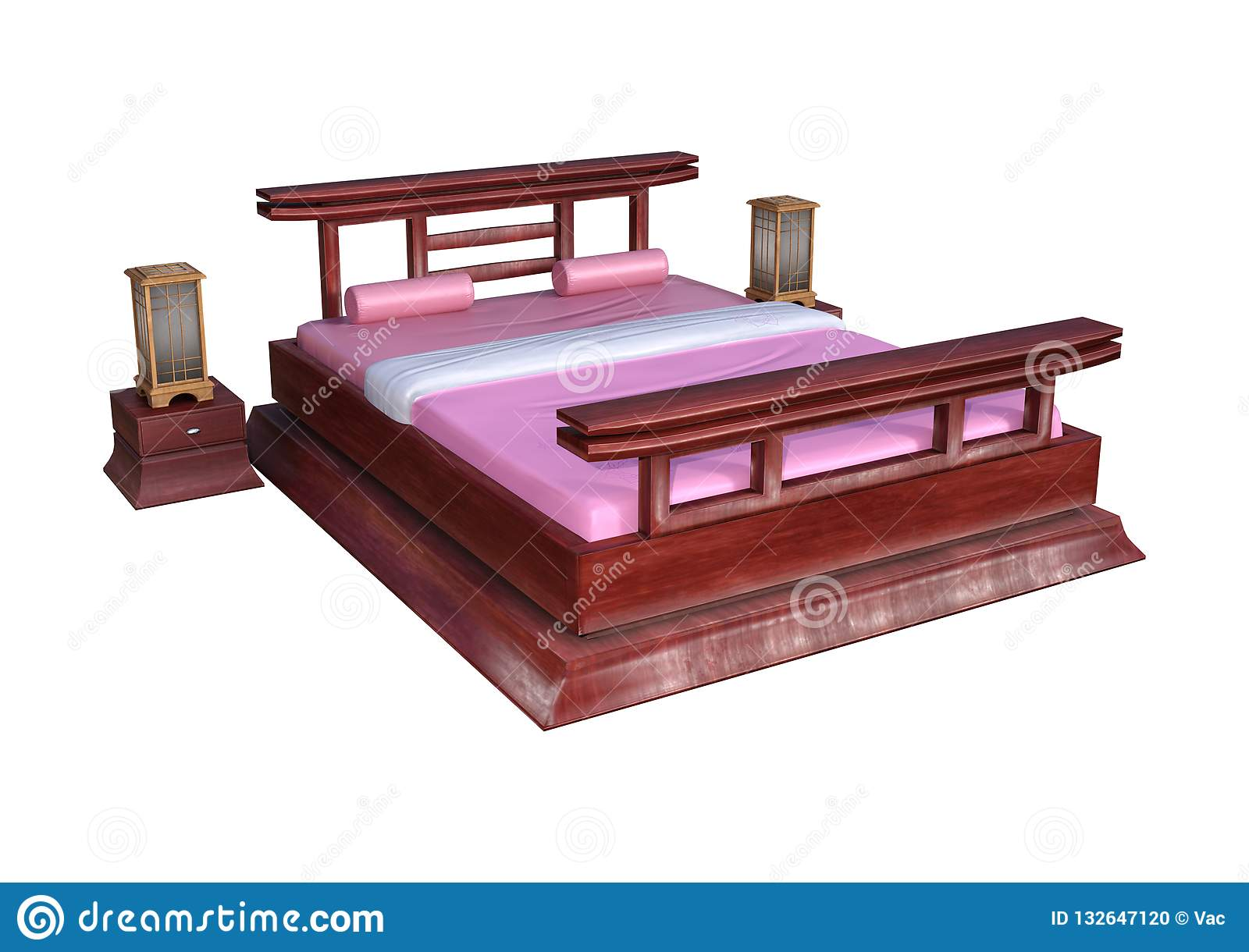 Picture of: 3d Rendering Japanese Style Bed On White Stock Illustration Illustration Of Comfortable Rendering 132647120