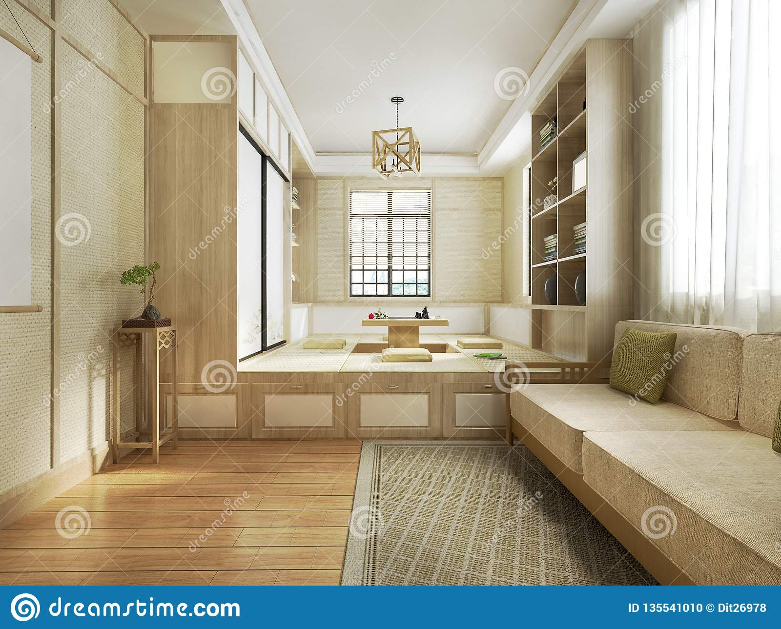 3d Rendering Japanese Style Living Room Stock Illustration ...