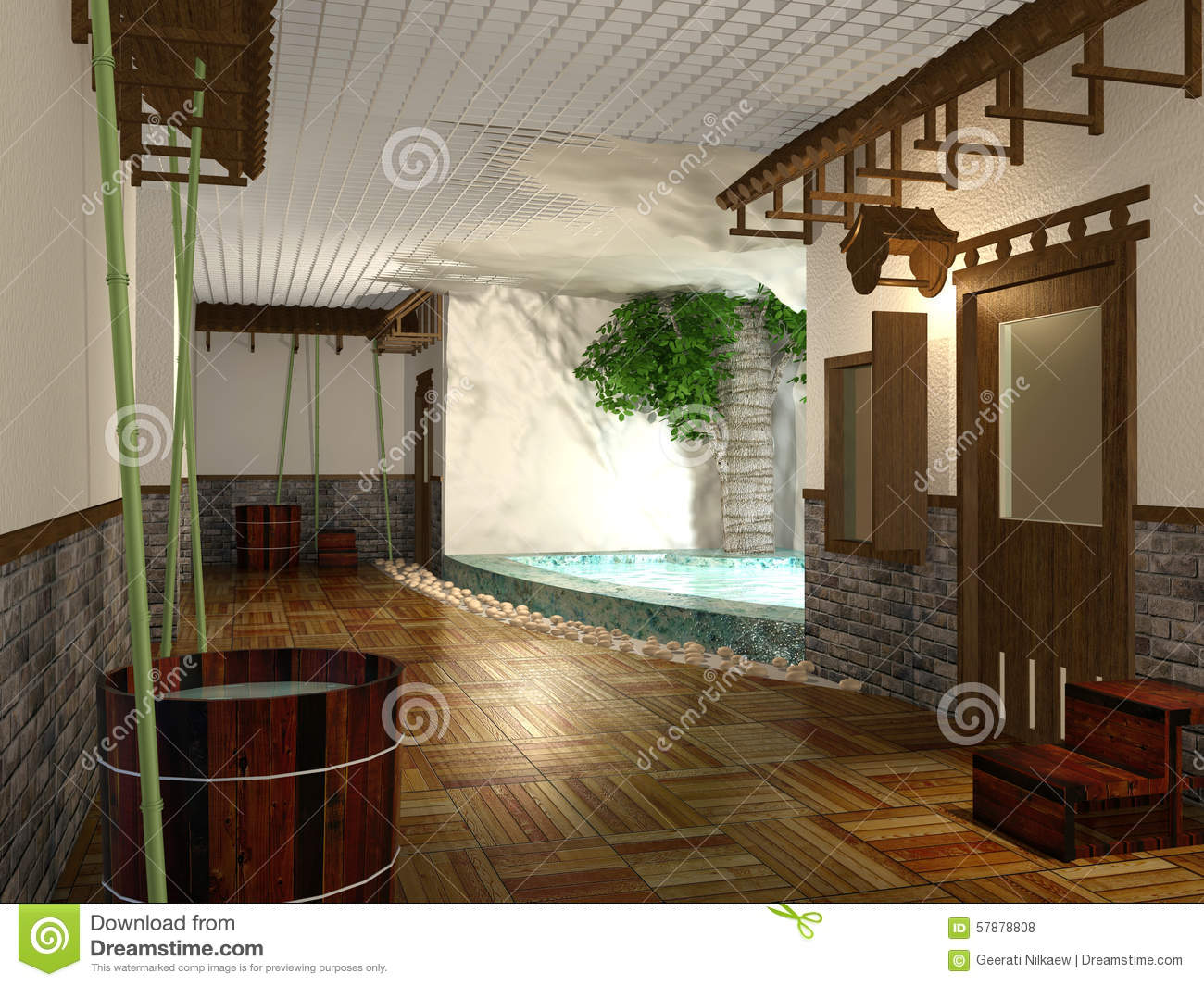 3d Rendering Japanese Style Public Shower Room Interior